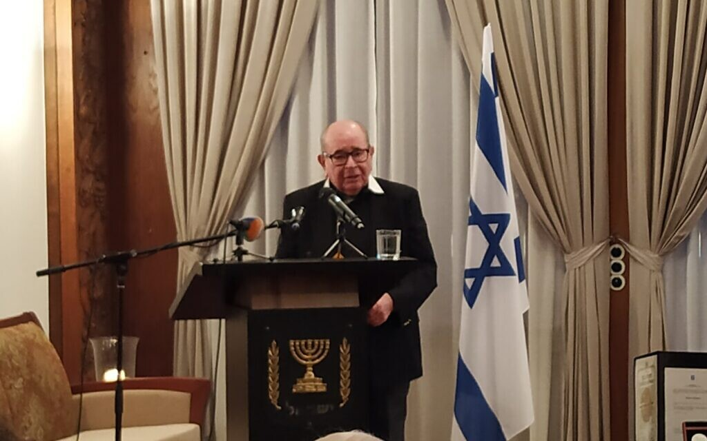 Josef Konigsberg speaks at an event posthumously honoring his savior, Helmut Kleinicke, as Righteous Among the nations, at the Israeli Embassy in Berlin, January 14, 2020. (Yaakov Schwartz/ Times of Israel)