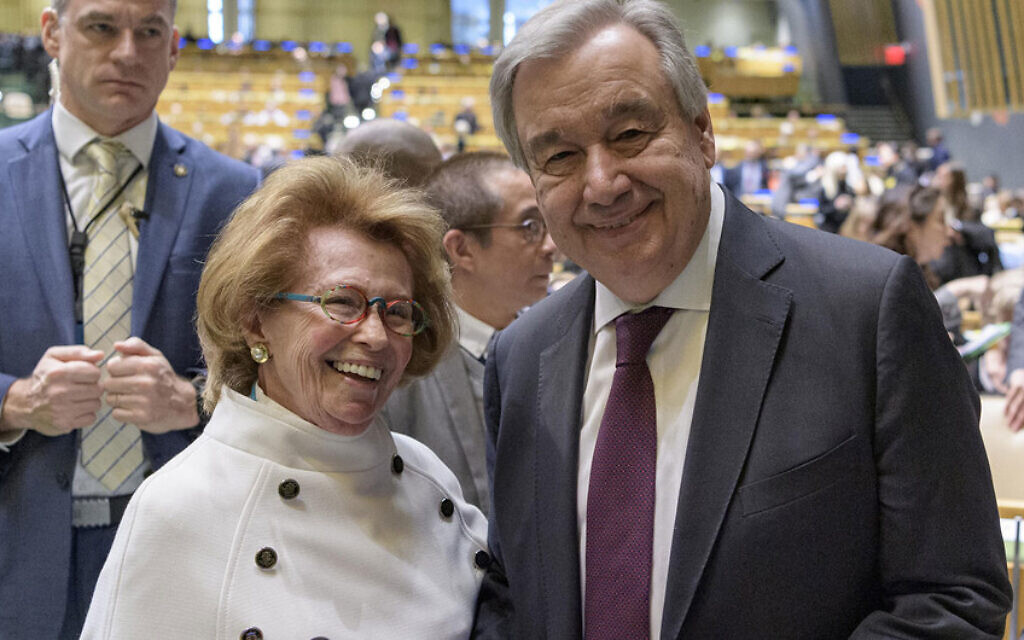 Secretary-General António Guterres (right) greets Irene Shashar, Holocaust survivor, at the United Nations Holocaust Memorial Ceremony on January 27, 2020. (UN Photo/Manuel Elias)