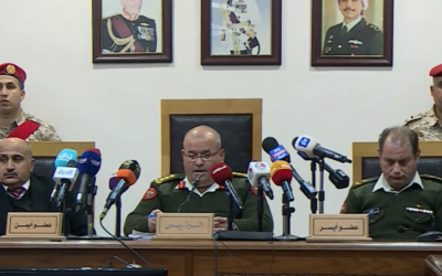Judge Ali Mubedeen reading Jordan's State Security Court's ruling against Israeli citizen Konstantin Kotov on January 13, 2020. (Screenshot: Al Mamlaka TV)
