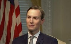 Screen capture from video of US presidential adviser Jared Kushner during an interview with the Al-Jazeera network, January 27, 2020. (Al Jazeera news)