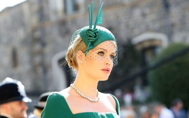 Lady Kitty Spencer arrives foir the wedding ceremony of her first cousin, Britain's Prince Harry, to US actress Meghan Markle, at Windsor Castle on May 19, 2018. (Gareth Fuller/AFPs)