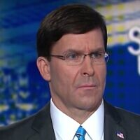 Screen capture from video of US Defense Secretary Mark Esper during an interview with CNN, January 12, 2020. (YouTube)
