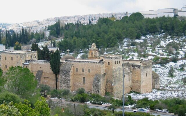 The Monastery of the Cross, situated in the Valley of the Cross, with the Israel Museum in the background, to the right; the location for the planned light rail station that the museum will protest on January 21, 2020 (Courtesy Ester Inbar)
