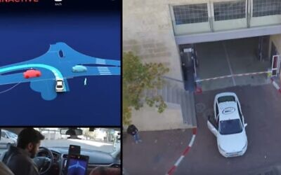 A Mobileye car getting ready to drive on the streets of Jerusalem (YouTube screenshot)