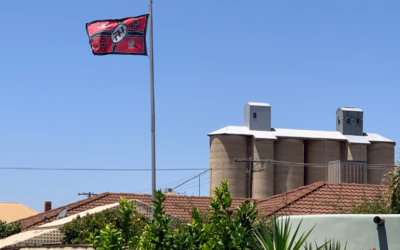 A Nazi flag is seen flying in the town of Beulah, in southeastern Australia. (Courtesy via JTA)