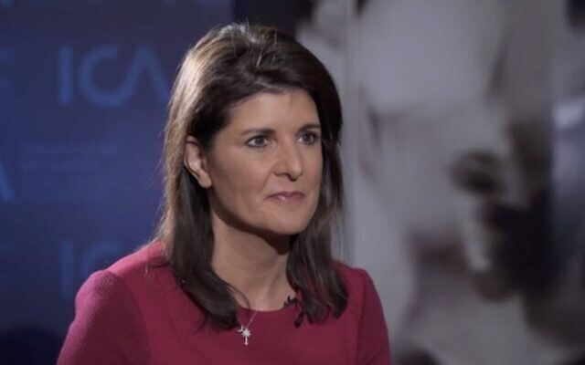 Former US ambassador to the United Nations Nikki Haley during an interview with Israel's Channel 12 news, January 26, 2020. (Channel 12 news screenshot)
