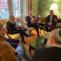 Settler leaders meet with Prime Minister Benjamin Netanyahu and his wife, Sara, at the Blair House in Washington on January 27, 2020. (Courtesy)