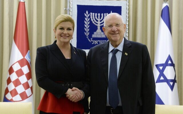President Reuven Rivlin meets with Croatian President Kolinda Grabar-Kitarović (L) at the President's Residence in Jerusalem on January 24, 2019. (Mark Neyman/GPO)