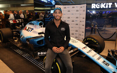 Roy Nissany at a press conference announcing his joining the Williams group Formula 1 racing team as its third driver, in Tel Avvi, January 15, 2020. (Courtesy Shauli Lendner)