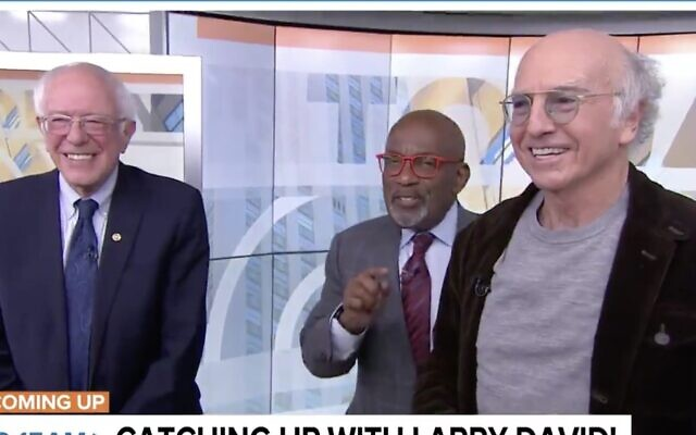 "US Senator Bernie Sanders of Vermont (L), Al Roker (C) and Larry David on NBC's ""Today"" show, January 10, 2019. (Screen capture: Twitter)"