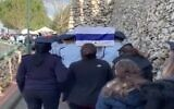 The funeral for Neal Erlich at Mount Herzl military cemetery in Jerusalem, January 14, 2019. (Screen capture: Channel 13 news)