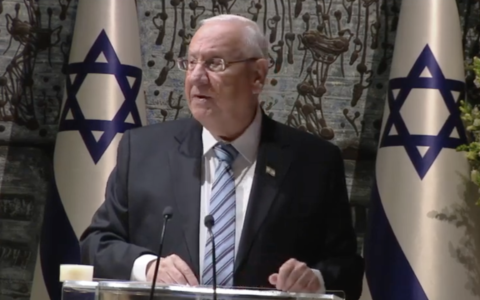 President Reuven Rivlin addresses world leaders at a dinner at the President's Residence in Jerusalem as part of the World Holocaust Forum on January 22, 2020. (Screenshot)