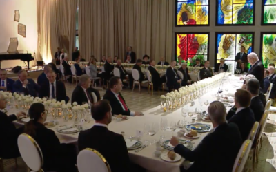 World leaders listen as President Reuven Rivlin delivers a speech at the President's Residence as part of the World Holocaust Forum on January 22, 2020. (Screenshot)