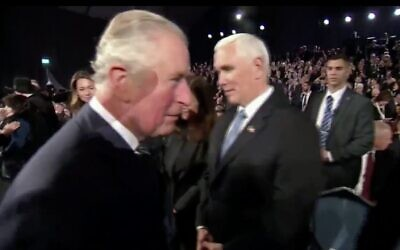 Britain's Prince Charles (L) and US Vice President Mike Pence at the World Holocaust Forum in Jerusalem, January 23, 2020. (Screen capture: Twitter)