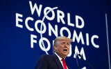US President Donald Trump delivers the opening remarks at the World Economic Forum, January 21, 2020, in Davos, Switzerland. (AP/Evan Vucci)