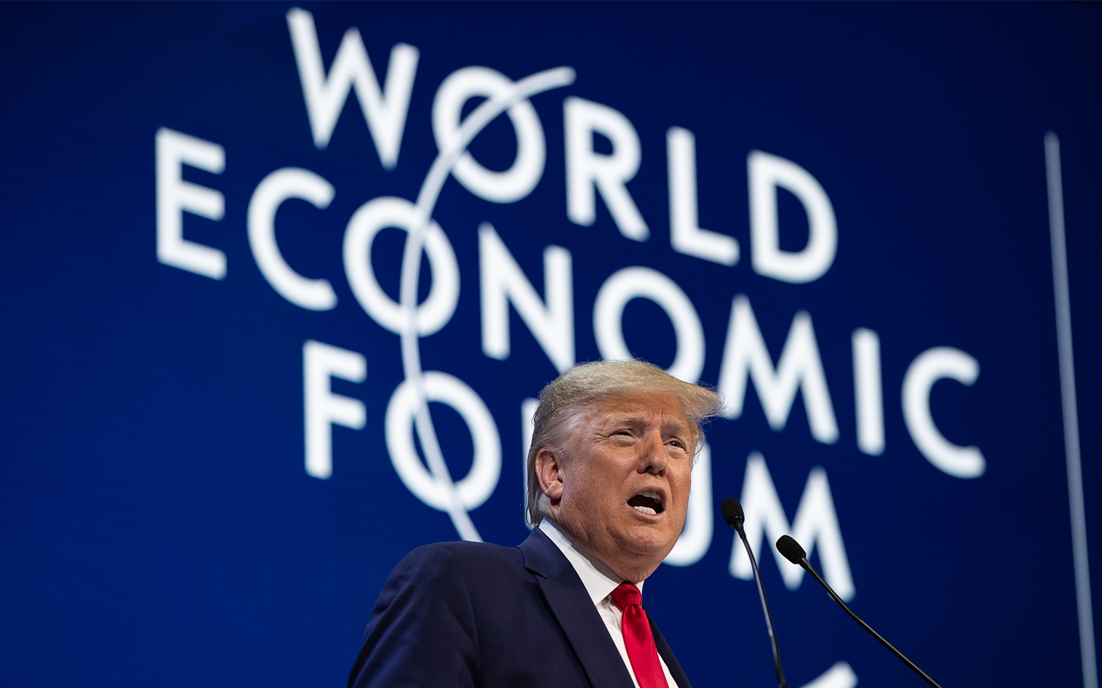 US President Donald Trump delivers the opening remarks at the World Economic Forum