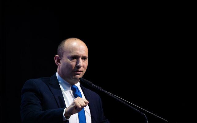 Defense Minister Naftali Bennett speaks at a conference in Jerusalem, December 8, 2019. (Yonatan Sindel/Flash90)