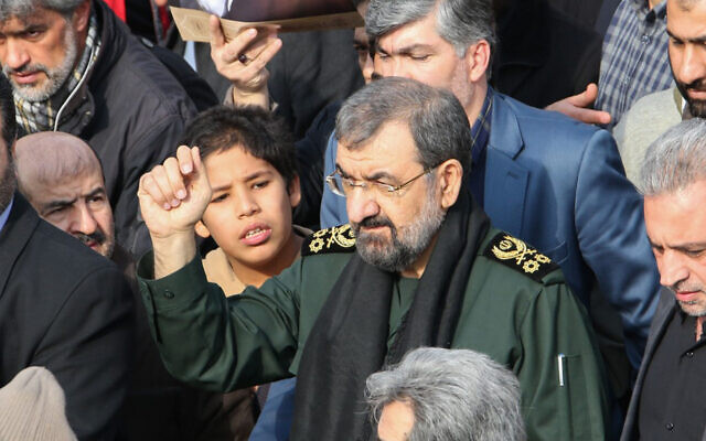 Iranian former chief of the Revolutionary Guards Mohsen Rezai takes part in a demonstration against American 'crimes' in the capital Tehran, January 3, 2020. (Atta Kenare/AFP)