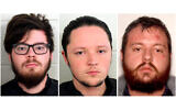 These undated photos provided by Georgia Police show from left accused neo-Nazis Luke Austin Lane of Floyd County, Jacob Kaderli of Dacula, and Michael Helterbrand of Dalton, Georgia. (Floyd County Police via AP