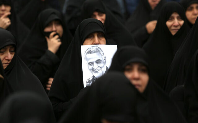 Iranian women take part in an anti-US rally to protest the killing of Iranian military commander Qasem Soleimani in Tehran, January 4, 2020. (Atta Kenare/AFP)