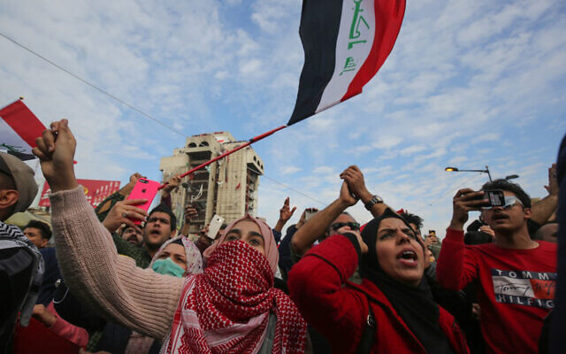 Iraqi anti-government demonstrators protest in Tahrir Square in the capital Baghdad, January 10, 2020. (AHMAD AL-RUBAYE/AFP)
