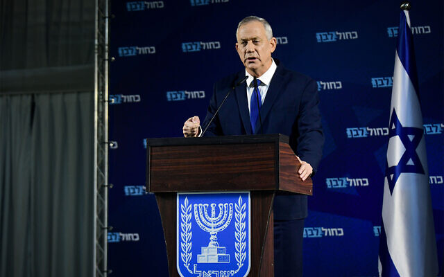 Head of Blue and White party Benny Gantz holds a press conference in Ramat Gan, January 1, 2020. (Flash90)