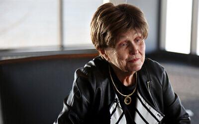 Holocaust survivor Bronia Brandman talks at the Museum of Jewish Heritage in New York, Jan. 22, 2020. (AP/Jessie Wardarski)