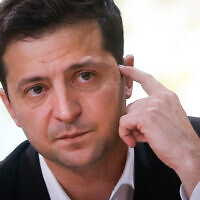 Ukrainian President Volodymyr Zelensky talks with journalists in Kyiv, Ukraine, Oct. 10, 2019. (AP/Efrem Lukatsky, File)