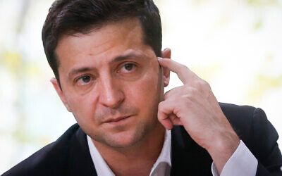 Ukrainian President Volodymyr Zelensky talks with journalists in Kyiv, Ukraine, October 10, 2019. (AP/Efrem Lukatsky, File)
