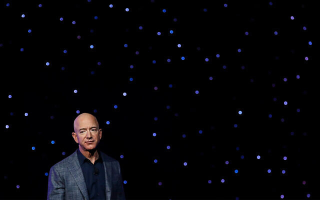 Jeff Bezos speaks at an event unveiling Blue Origin's Blue Moon lunar lander in Washington, May 9, 2019. (AP/Patrick Semansky, File)