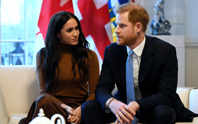 Britain's Prince Harry and Meghan, Duchess of Sussex during a visit to Canada House in London, January 7, 2020. (Daniel Leal-Olivas/Pool Photo via AP)
