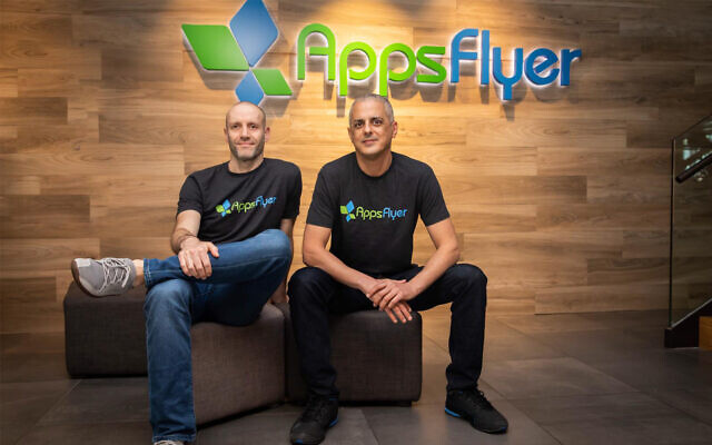AppsFlyer founders Reshef Mann, left, and Oren Kaniel. (Courtesy/Appsflyer PR)