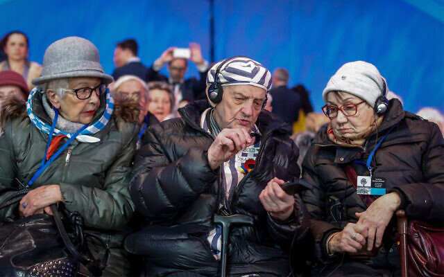 Survivers attend the official ceremony at the former German Nazi death camp Auschwitz-Birkenau for the 75th anniversary of the camp's liberation in Oswiecim, Poland, January 27, 2020. (Wojtek RADWANSKI/AFP)