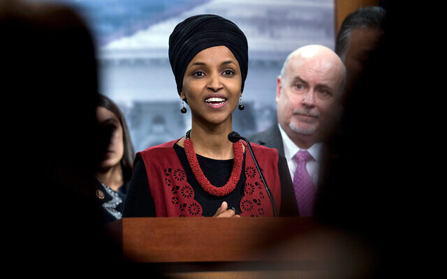 Congressional Progressive Caucus member Rep. Ilhan Omar, D-Minn., speaks during a news conference on Capitol Hill in Washington, January 8, 2020. (AP Photo/Jose Luis Magana, File)