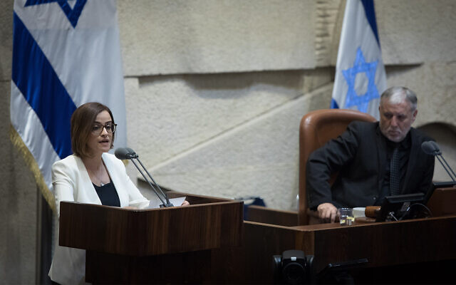 Heba Yazbak of the Ra'am-Balad party speaks in the Knesset, May 13, 2019. (Noam Revkin Fenton/Flash90)