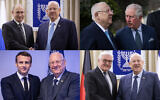 From top left clockwise: President Reuven Rivlin meets in Jerusalem with Russian President Vladimir Putin, Britain's Prince Charles, German President Frank-Walter Steinmeier and French President Emmanuel Macron. (Flash90)