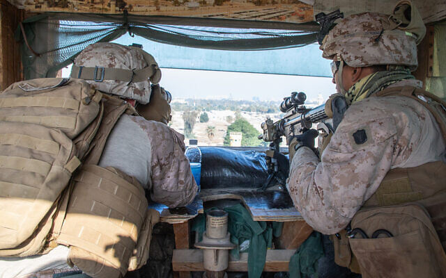 US Marines secure the Baghdad Embassy Compound in Iraq, January 3, 2020. (US Marine Corps/Sgt. Kyle C. Talbot)