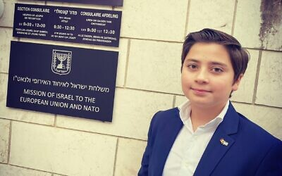 Gabriel Pais outside the Israeli mission to Belgium, the UN, and NATO in his hometown of Brussels. (Courtesy)