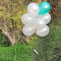 A cluster of balloons carrying a suspected explosive device launched from the Gaza Strip that landed in southern Israel on January 16, 2020. (Courtesy)