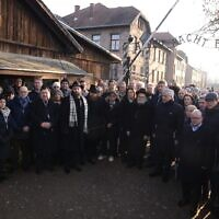 Members of the EJA delegation in front of the gates of Auschwitz, January 21, 2020. (Yoni Rykner/ EJA)