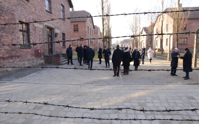 Members of the EJA delegation tour Auschwitz, January 21, 2020. (Yoni Rykner/ EJA)