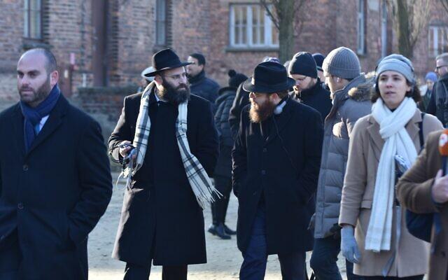 Rabbi Menachem Margolin, left, and Rabbi Slomo Koves, during a tour of Auschwitz as part of the EJA delegation, January 21, 2020. (Yoni Rykner/ EJA)