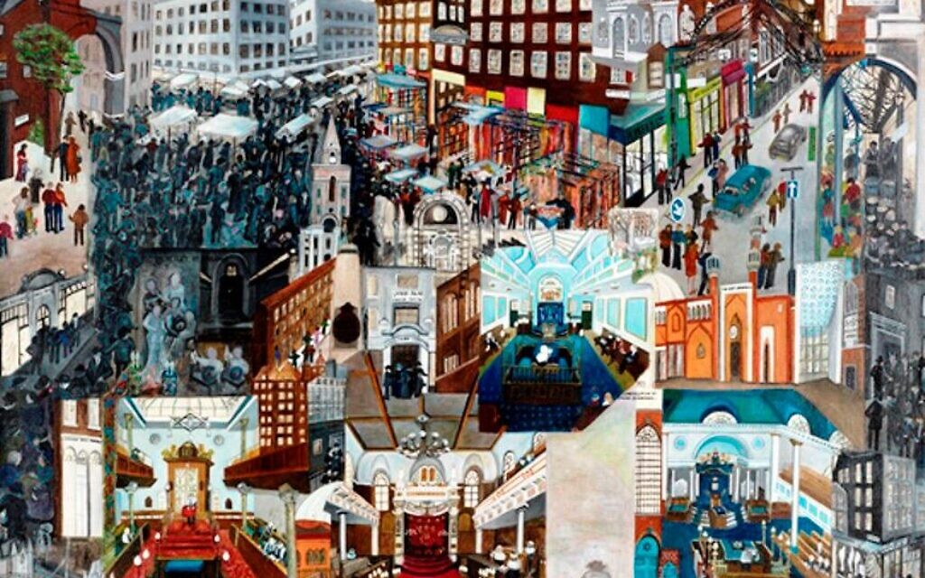 The East End of London captured by artist Beverley-Jane Stewart, currently being exhibited in the Cimbalista Synagogue at Tel Aviv University (Courtesy Duncan Phillips)