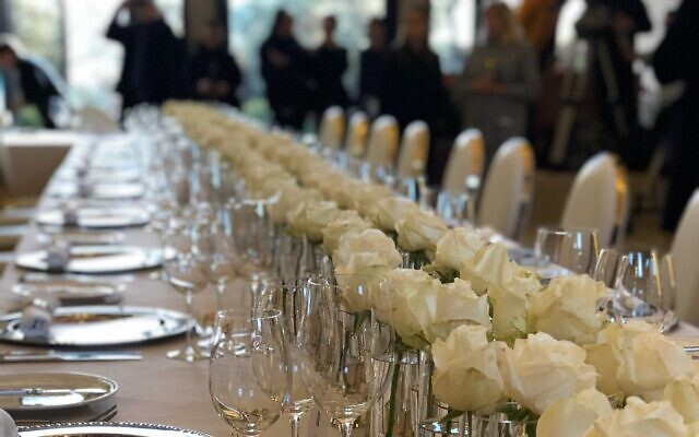 Preparations for the state dinner for dozens of world leaders at the President's Residence in Jerusalem, January 22, 2020. (Tal Schneider/Globes)