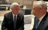 Blue and White chair Benny Gantz (R) meets with US Vice President Mike Pence in Jerusalem on January 23, 2020. (Courtesy)