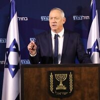 Blue and White chairman Benny Gantz addressing press in Ramat Gan, on January 25, 2020. (Elad Malka/Blue and White)