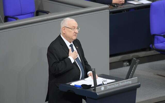 President Reuven Rivlin addresses the Bundestag during a parliamentary session in homage to Nazi victims at the Bundestag on January 29, 2020 in Berlin. (Amos Ben Gershom/GPO)
