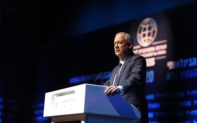 Blue and White chairman Benny Gantz speaks at an INSS conference on January 29, 2020. (Elad Malka)