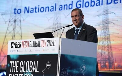 Israel Electric Corp's chairman Yiftah Ron-Tal, at the Cybertech 2020 conference on Jan. 29, (Courtesy)