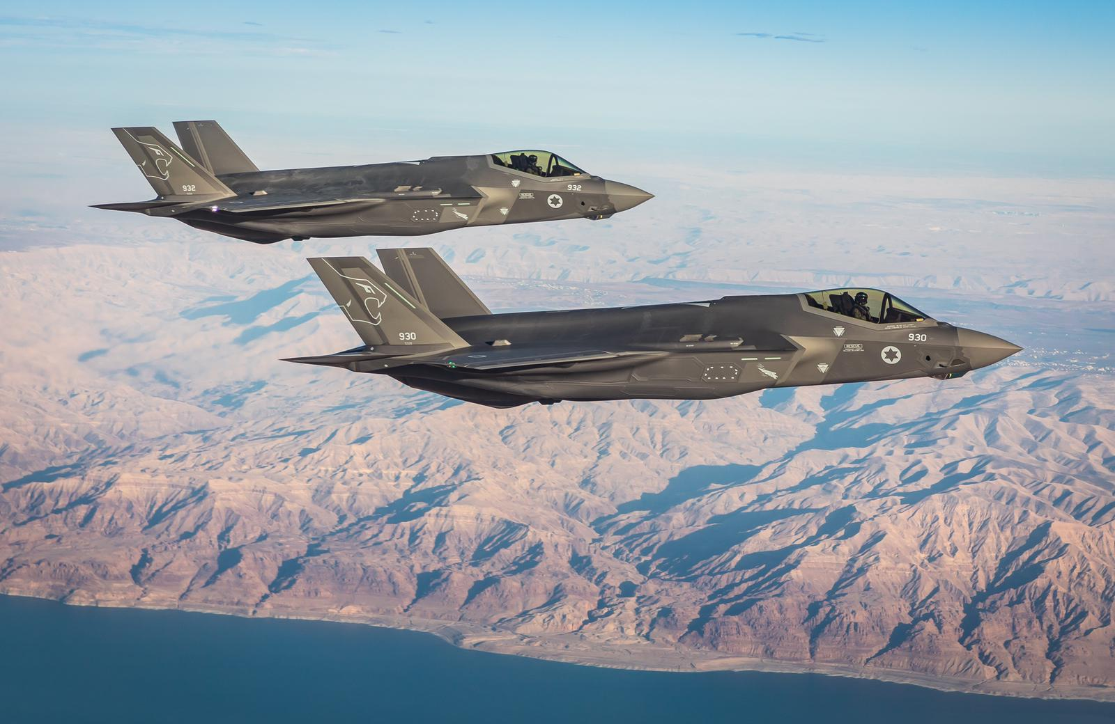 Fighter jets from the IAF's second F-35 squadron, the Lions of the South, fly over southern Israel (IDF spokesperson)